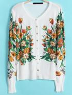 Romwe Flower Print Knit Cardigan