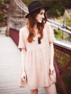 Romwe Apricot Crew Neck High Waist Dress