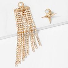 Romwe Rhinestone Tassel Mismatched Drop Earrings 1pair