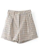 Romwe Straight Fit Gingham Shorts