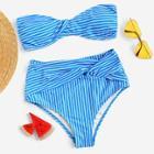 Romwe Striped Twist Bandeau With High Waist Bikini