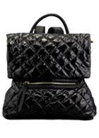 Romwe Diamond Patterned Zipper Black Backpack