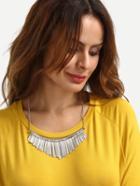 Romwe Silver Fringe Pendant Necklace
