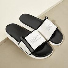 Romwe Guys Letter Pattern Flat Slippers