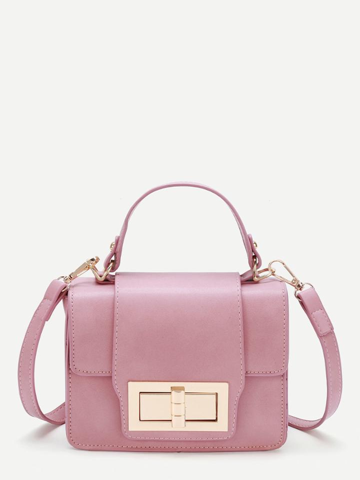 Romwe Pu Twist Lock Shoulder Bag