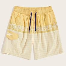 Romwe Guys Letter Print Flap Pocket Bermuda Shorts