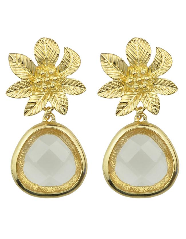 Romwe White Flower Shape Drop Earrings