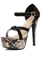 Romwe Black Platform Ankle Strap Florals High Heeled Sandals