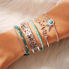 Romwe Letter & Leaf Detail Bracelet 5pcs