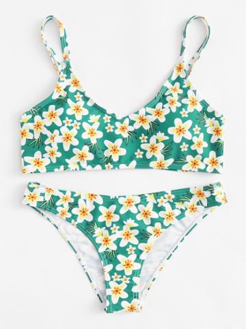 Romwe Calico Print Cami Bikini Set