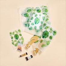 Romwe Leaf Print Storage Bag Set 5pcs