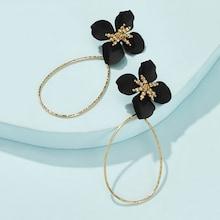 Romwe Flower Decor Open Drop Earrings 1pair