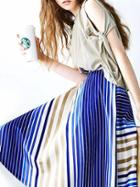 Romwe Blue Striped Midi Skirt