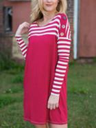 Romwe Dropped Shoulder Seam Striped Buttons Tshirt Dress