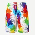 Romwe Guys Paint Print Drawstring Shorts
