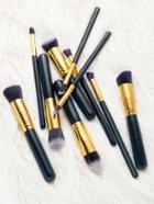 Romwe 10pcs Black Cosmetic Makeup Brush Set