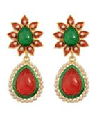 Romwe Colorful Gemstone Pearl Drop Long Earrings