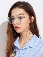 Romwe Metal Frame Clear Lens Glasses