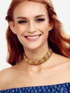 Romwe Gold Linked Vintage Choker Necklace