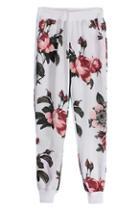 Romwe Elastic Floral Print Pants