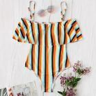 Romwe Random Striped Flounce One Piece Swimsuit