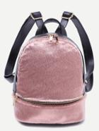 Romwe Pink Faux Fur Covered Zip Front Backpack