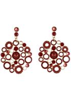 Romwe Red Circle Hollow Earrings