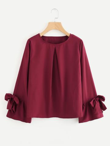 Romwe Bow Tie Sleeve Pleated Front Blouse