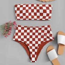 Romwe Random Checker Bandeau With High Waist Bikini Set