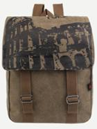 Romwe Coffee Printed Dual Buckled Flap Canvas Backpack