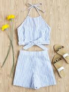 Romwe Striped Bow Tie Shirred Back Top With Shorts