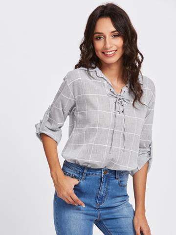 Romwe Rolled Sleeve Checked Eyelet Lace Up Blouse