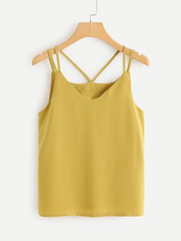 Romwe Solid Strappy Detail Top