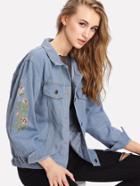 Romwe Embroidered Denim Jacket