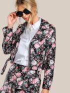 Romwe Studded Floral Faux Leather Biker Jacket