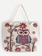 Romwe Owl And Flower Pattern Tote Bag