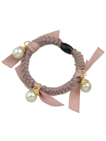 Romwe Pink Color Pearl Elastic Hair Rope Scrunchie