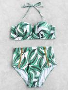Romwe Leaf Print Front Zipper High Waist Bikini Set