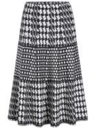 Romwe Elastic Waist Houndstooth Knit Pleated Skirt
