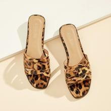 Romwe Leopard Pattern Open Toe Slippers