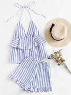 Romwe Striped Frill Layered Halter Top And Shorts Set