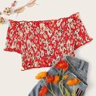 Romwe Ditsy Floral Shirred Off The Shoulder Blouse