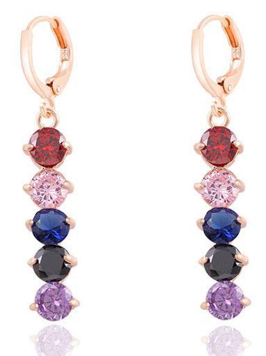 Romwe Multicolor Crystals Earrings