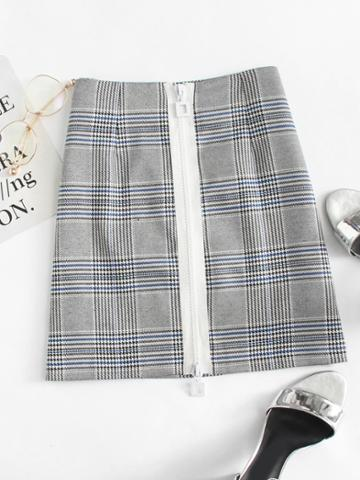 Romwe Zip Up Front Plaid Skirt
