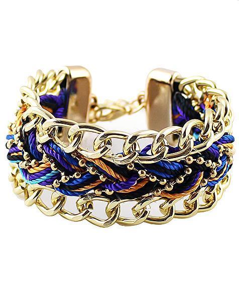 Romwe Golden Woven Bracelet