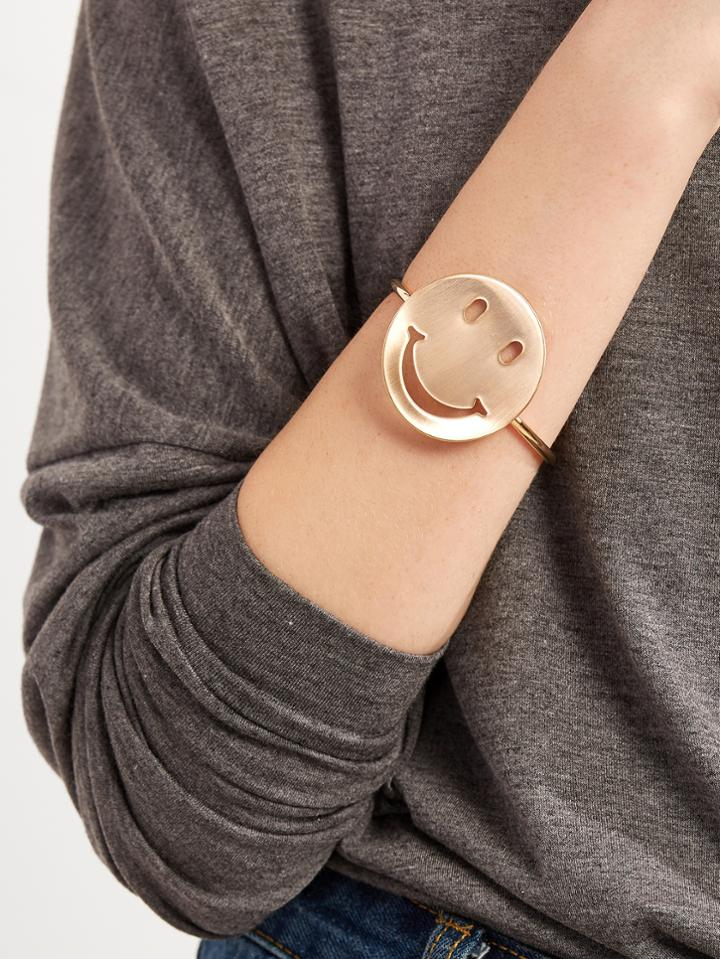 Romwe Gold Plated Smiley Face Wrap Bangle