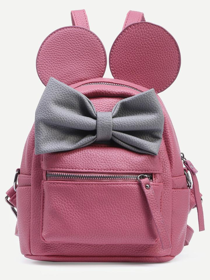 Romwe Pink Contrast Bow Backpack