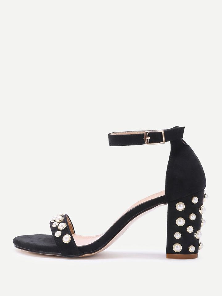 Romwe Faux Pearl Detail Two Part Block Heel Sandals