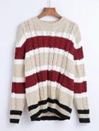 Romwe Cable Knit Slouchy Sweater
