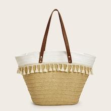 Romwe Tassel Embellished Tote Bag